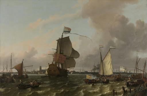 ロッテルダム沖マース川の、戦いの中の男、ブリーレ