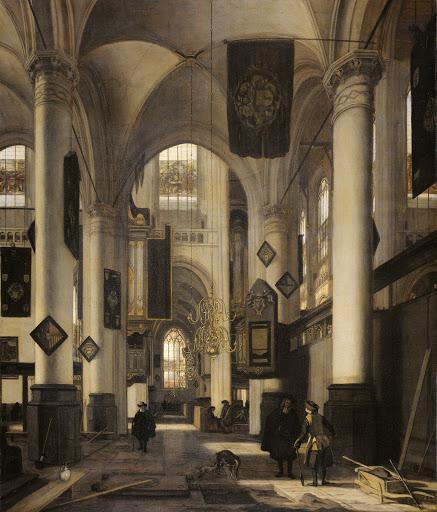 アムステルダムの新旧教会のモチーフがある、プロテスタントのゴシック様式の教会の中