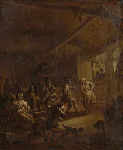 納屋で踊っている農夫