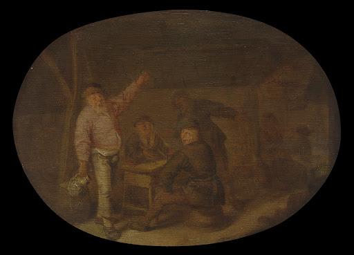納屋で酒を飲んでいる農夫