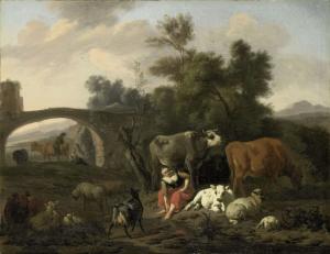 牛飼いと牛の風景
