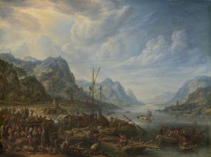 船が停泊している川の眺め