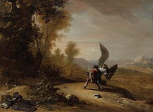 天使と格闘しているヤコブ