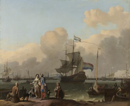 フリゲート艦「分隊」が浮かんでいるアムステルダム湾