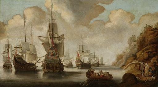 ロッキー海岸の近くのフランス艦隊