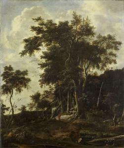 木こりの小屋がある森の風景