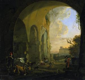 ローマのコロッセウムの門の下にいる牛と牛飼い
