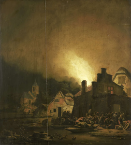 村の夜火事
