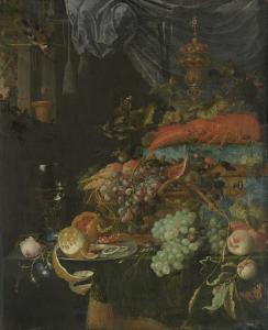 果物とゴシキヒワの静物画