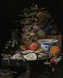 果物、牡蠣と磁器の静物画