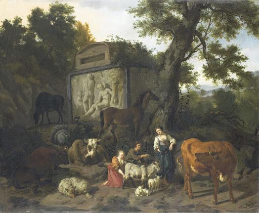 墓の近くにいる遊牧民と牛の風景