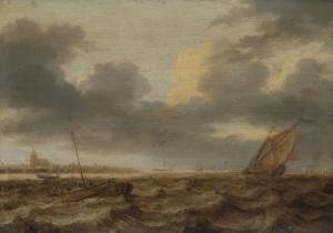 荒波立つ海の漁船