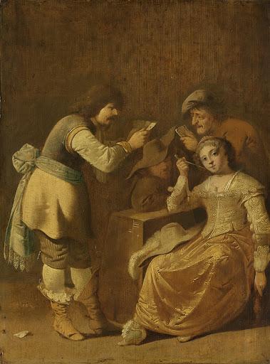 カード遊びをする人々と喫煙する女
