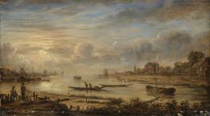 日の出の川の風景