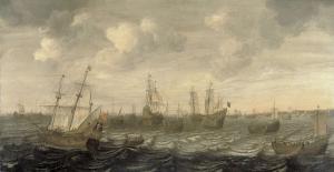 航行中のオランダのニシン漁船隊