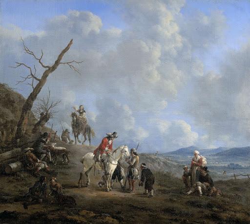 馬の乗り手、狩人、農民のいる風景