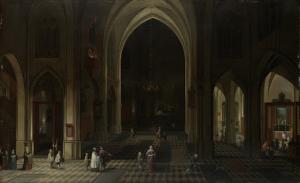 夕暮れ時の教会内部