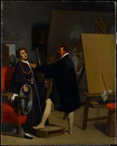 ティントレットのアトリエにいるピエトロ・アレティーノ