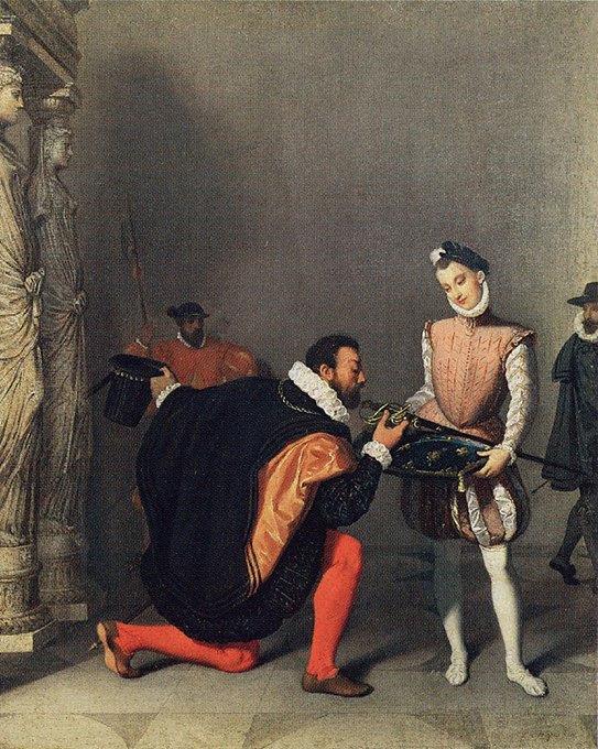 ヘンリー4世の剣にキスをするトレドのドン・ペドロ