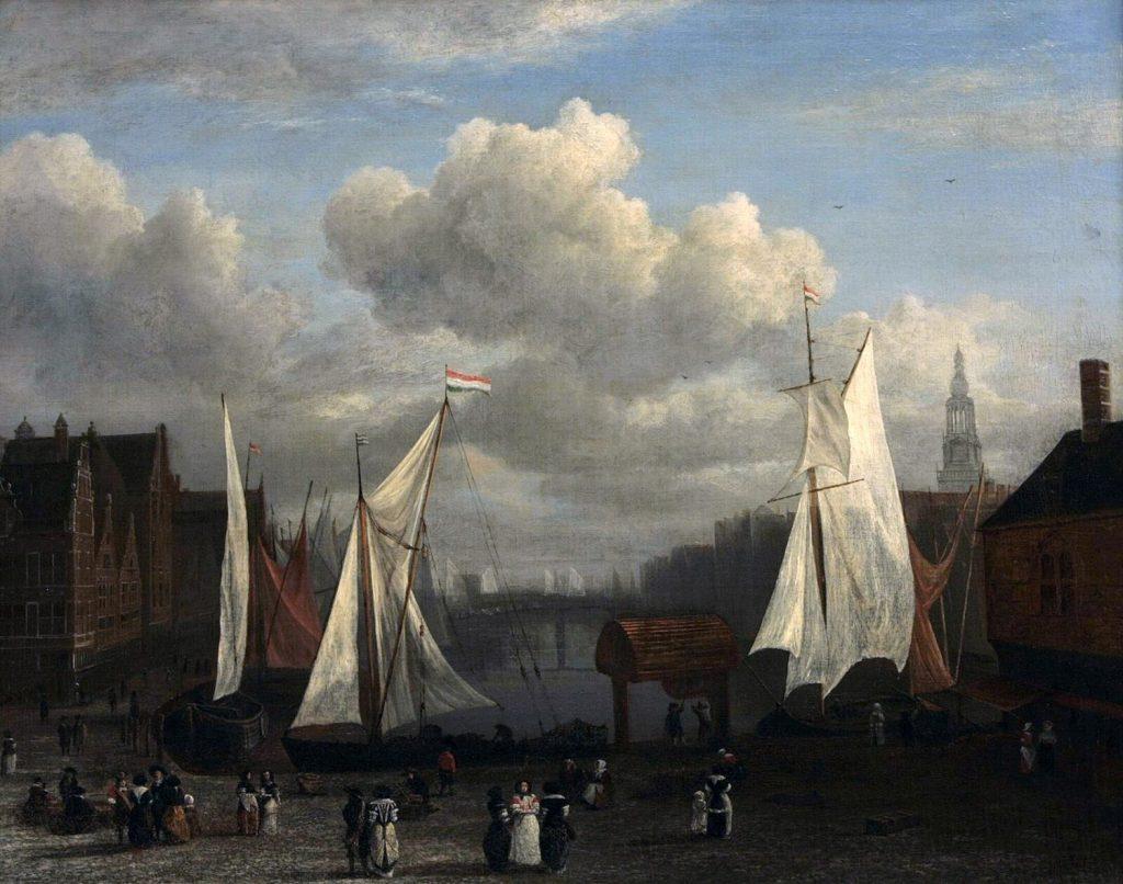 アムステルダムのダム広場とダムラックの眺め