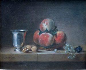 桃、銀のゴブレット、ぶどう、クルミのある静物
