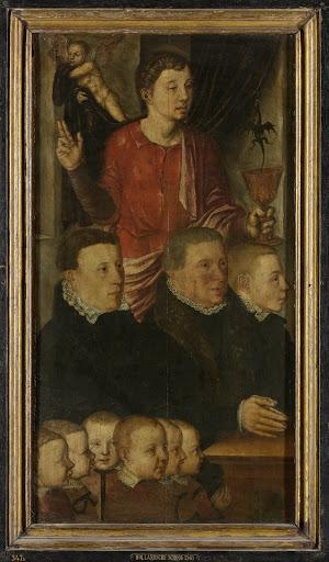以前はヘルツの記念三部作と呼ばれた、記念三部作の左翼、中は洗礼者聖ヨハネと九人の男性寄与者、外は聖ペテルの絵