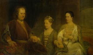 妻マリア・ドロレンボー(1686-1746)と娘ヨハンナ・マリア(1712-91)といっしょにいる、ライデン大学の薬学教授、ヘルマヌス・ボエルハーヴェ(1668-1738)