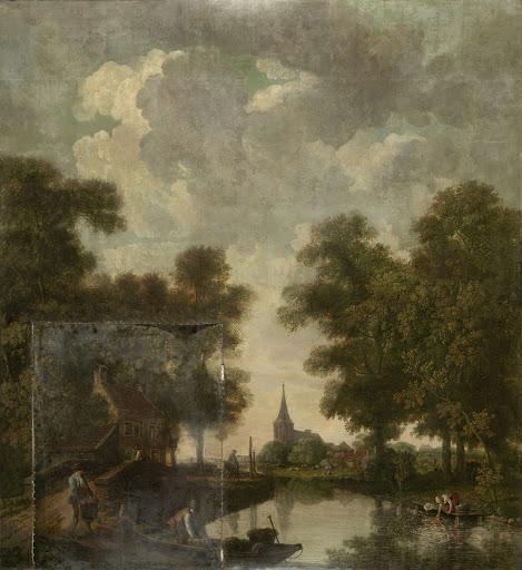 川があるオランダの風景の壁紙の絵