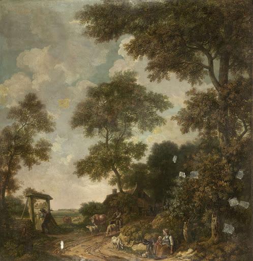 砂の道がある、オランダの風景の壁紙絵
