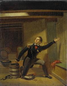 1831年2月5日に火薬の芯をつめる、ヤン・ファン・スペイク