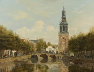 アムステルダムの時計塔とヤン・ローデンポールトシュトーレン