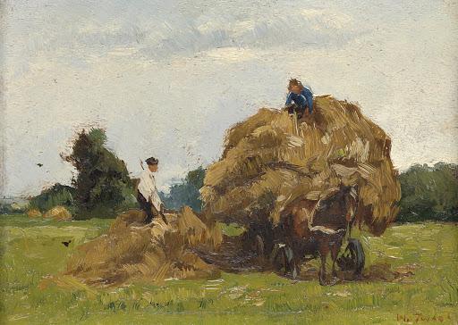 干し草ののった荷馬車