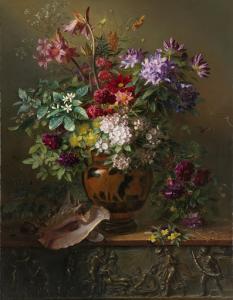 ギリシャ花瓶と花の静物画:春の寓意