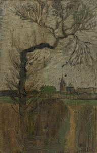 柳の木の影と地平線の村