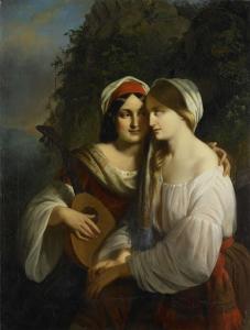 イタリアの衣装を着た、二人の女