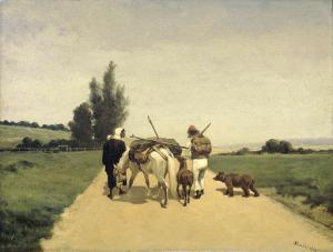 田舎道を行く遊牧民の家族