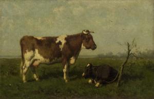 牧草地の牛の親子