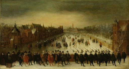 前方にマウリッツ皇太子と仲間がいる、冬のハーグ、ヴィーヴェルベルグ