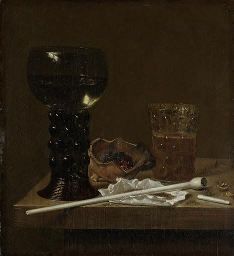 レーマーグラス、ビアグラス、パイプの静物