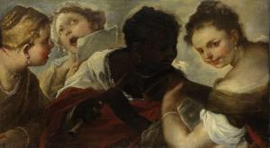 音楽を演奏している四人の女
