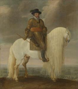 ニューポートの勝利の後に贈呈された白い軍馬にまたがるマウリッツ王子