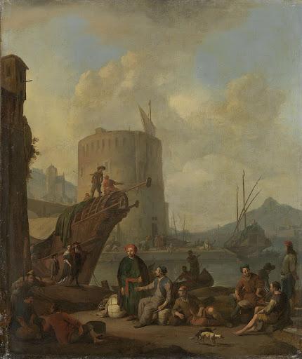 要塞塔のある、イタリアの港