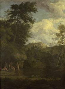 ダイアナが入浴している、アルカディアの風景