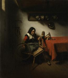 糸を紡いでいる年老いた女