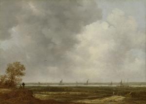 低地の牧草地と川の広大な眺め