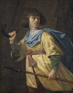 槍と狩りの笛を持った若い男の肖像
