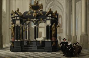 デルフト新教会でウィリアム王子1世の墓のそばにいる家族