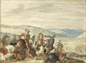 騎兵戦が繰り広げられている山の風景