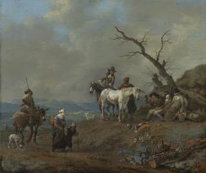 狩人と農夫がいる田舎道