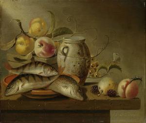 陶器のジャー、魚、花の静物